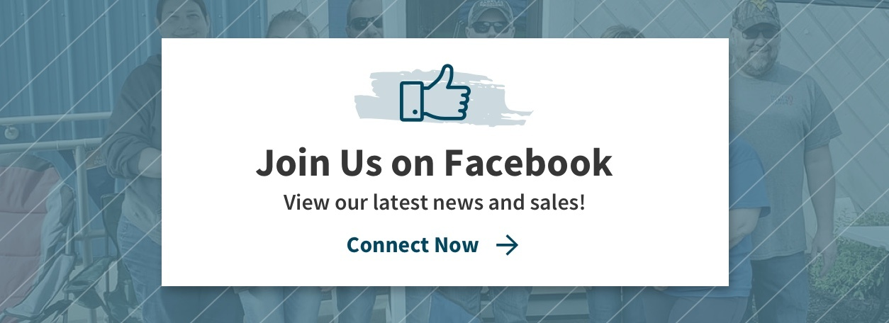 """Join Us on Facebook - View our latest news and sales!"" with thumbs up icon and blue background"